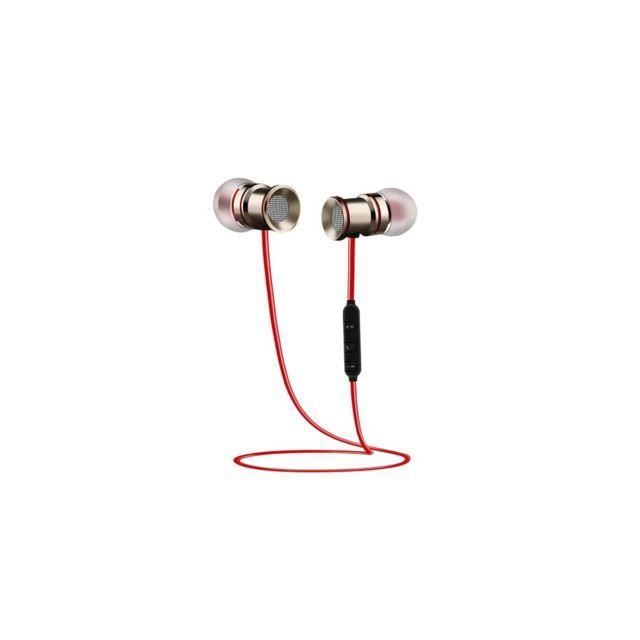 Auto-hightech - écouteur stéréo de sport intra-auriculaire magnétique sans fil Bluetooth V4.1 et impérméable, avec micro, pour iPhone, Samsung