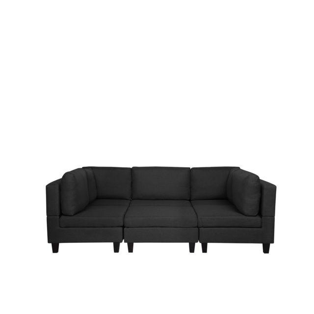 BELIANI Canapé panoramique modulable noir 5 places avec pouf ottoman FEVIK - noir