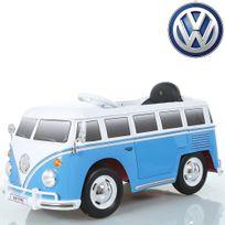 Volkswagen - Voiture véhicule électrique mini van hippie 12V Bleu