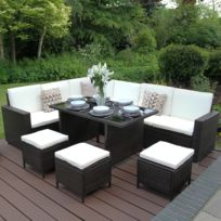 Ensemble jardin mobilier en rotin noir avec tabouret, table et canapé en L  Marron