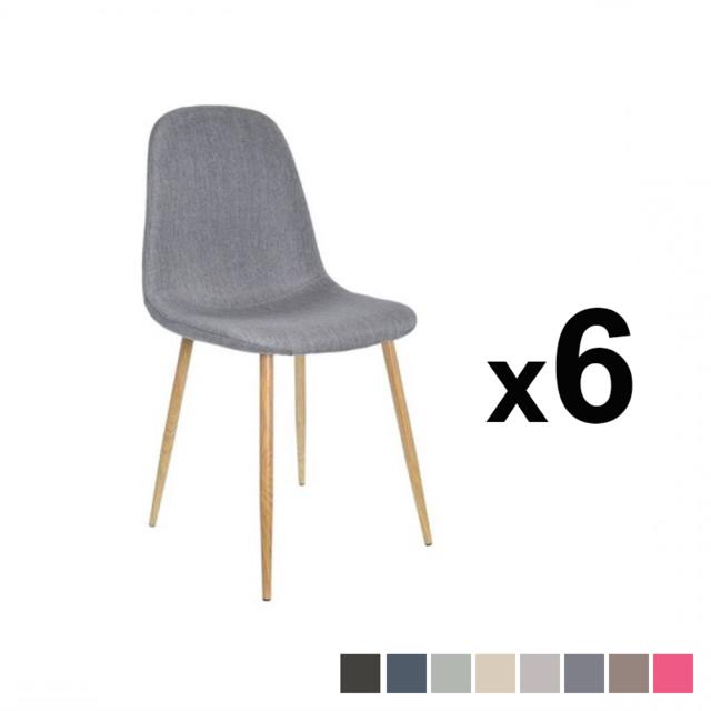 Zoli99 Klary Lot de 6 chaises scandinaves en tissu gris