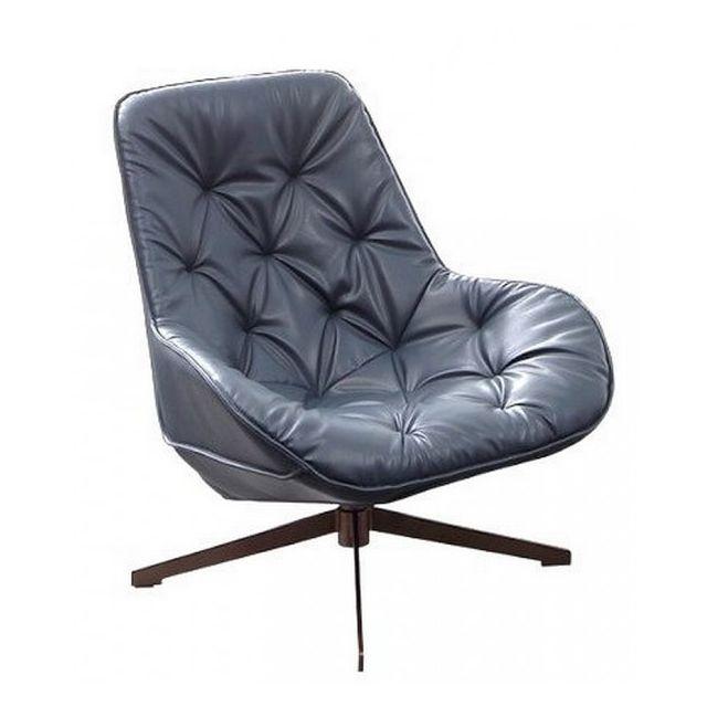 Mathi Design Trek - Fauteuil moderne aspect cuir gris