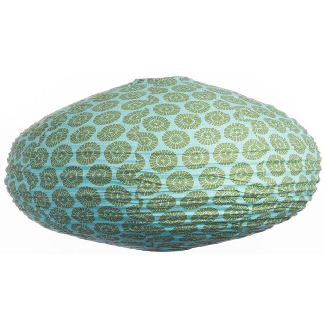 GONG - Suspension ovale 80cm Oki Flower aqua & olive Multicolore