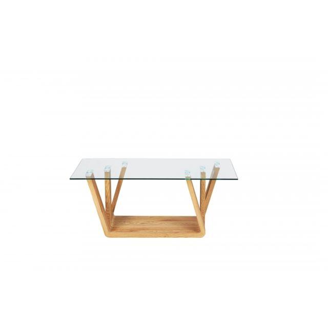 Table basse design Nani en verre et bois - l 110 x P 60 x H 45 cm - Beige