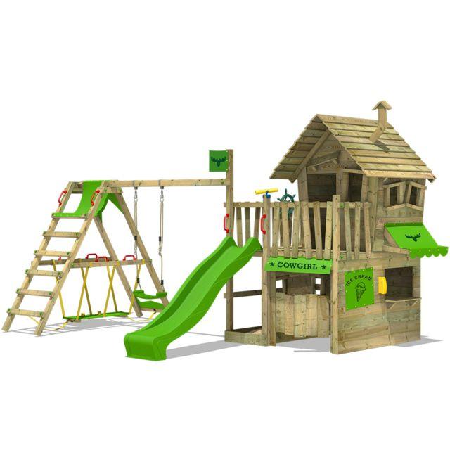 Fatmoose Aire de jeux en bois CountryCow Maxi Xxl Cabane en bois avec  toboggan balançoire et a01020f95b2f
