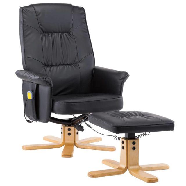 Icaverne - Fauteuils électriques serie Fauteuil de massage avec repose-pieds Noir Similicuir