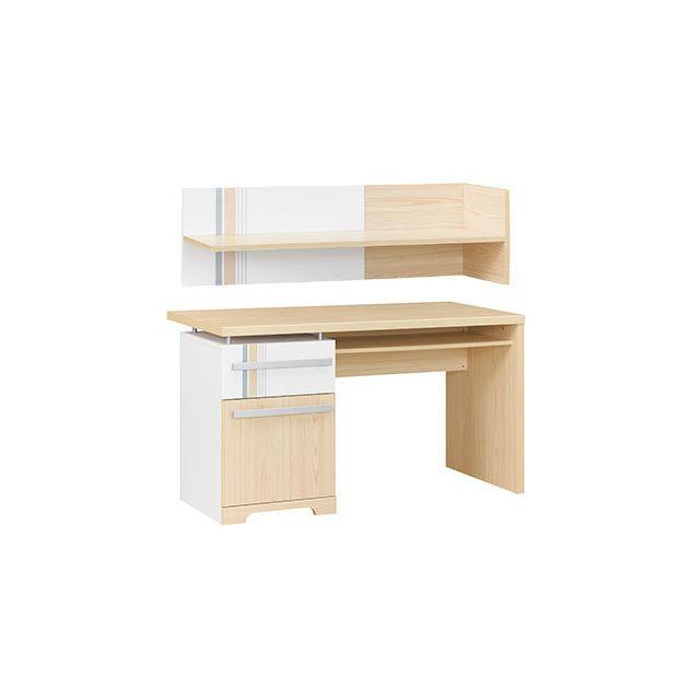 Bureau 1 porte 1 tiroir + étagère naturel et blanc - Evan