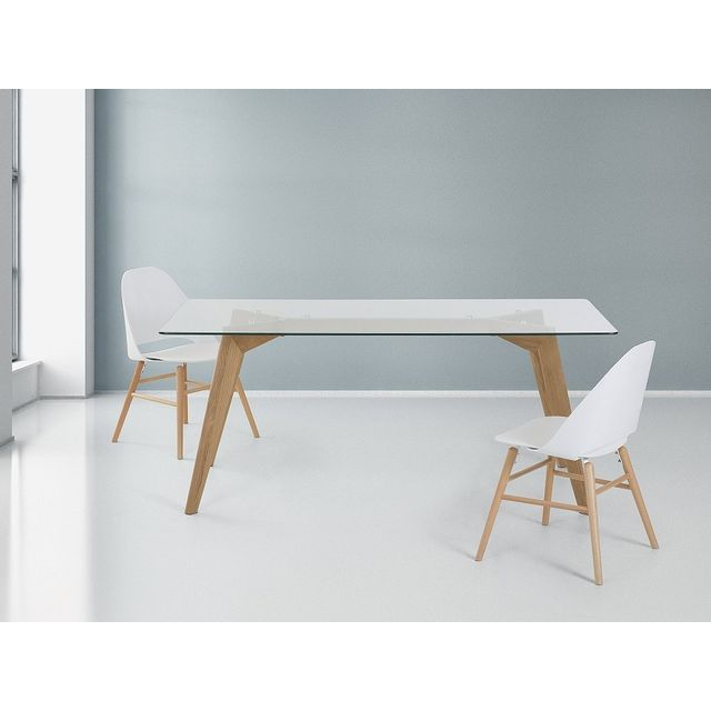 beliani table de salle manger table en verre 180x90 cm hudson