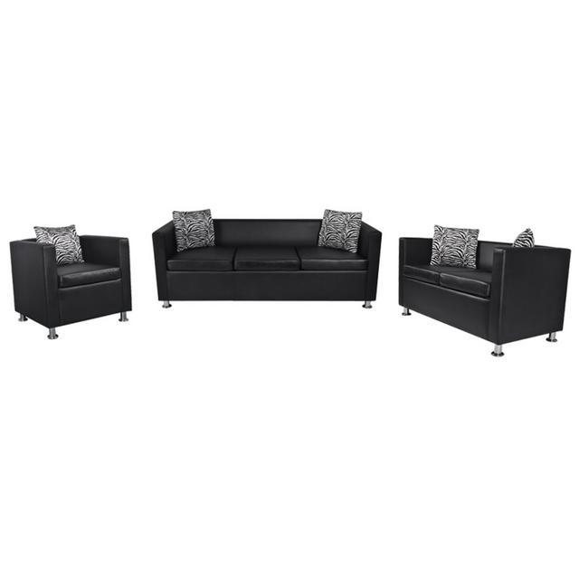 Rocambolesk Superbe Set canapé 3 places, 2 places et Fauteuil cube en cuir artificiel noir neuf