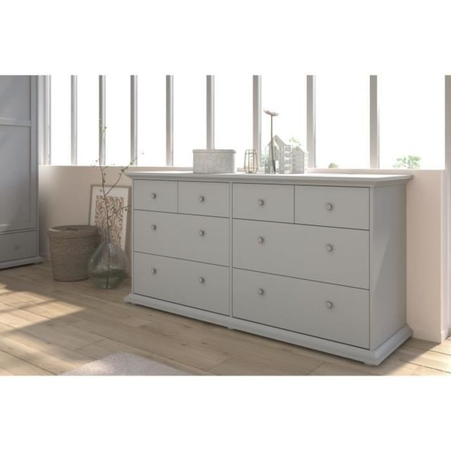 COMMODE DE CHAMBRE MANON Commode 8 Tiroirs Gris - L 152 x P 46 x H 77 cm