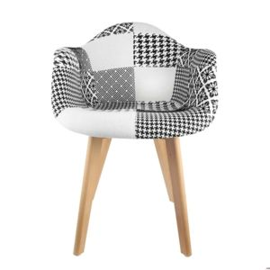the concept factory fauteuil scandinave patchwork noir blanc pas cher achat vente chaises. Black Bedroom Furniture Sets. Home Design Ideas