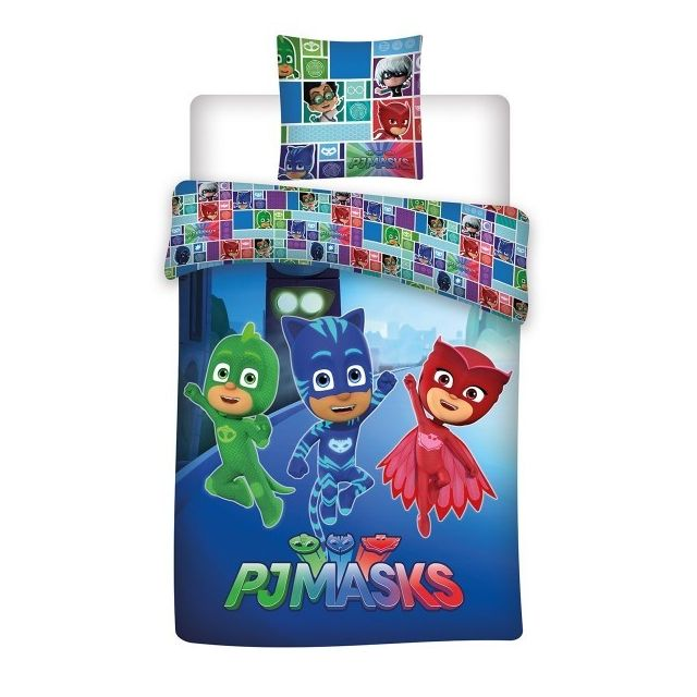 Disney junior pyjamasque parure de lit enfant housse de couette polycoton multicolore n - Parure de lit disney pas cher ...
