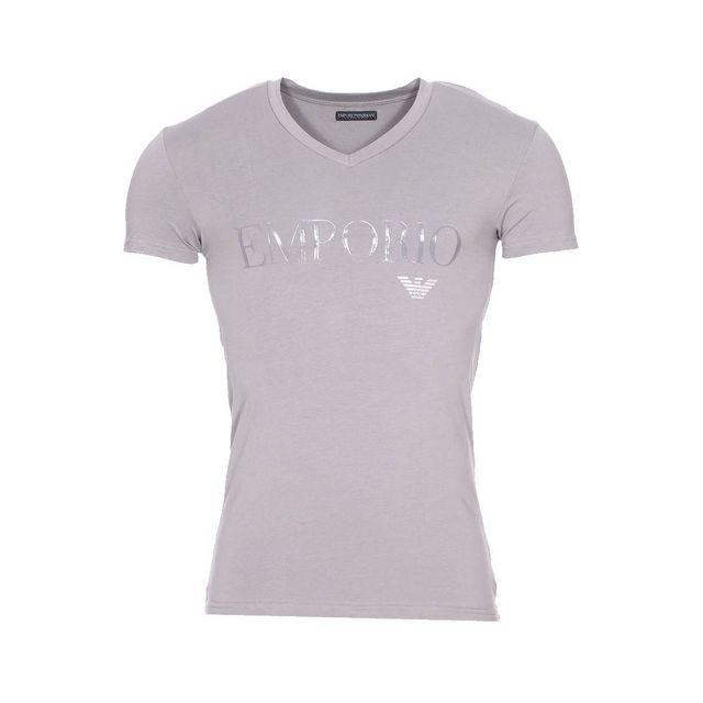 Armani Ea7 - Tee-shirt col V Emporio Armani en coton stretch gris floqué en 54063be8ce3