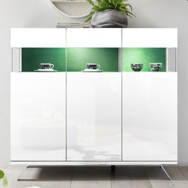Kasalinea Buffet haut design blanc et vert avec Led Palermo