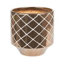 Present Time - Cache Pot Carved Diamond Céramique 14 cm Or