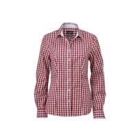 James   Nicholson - chemisier chemise manches longues Femme carreaux vichy  Jn616 - bordeau rouge 8c0769fbaec6
