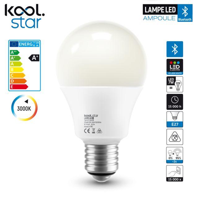 Koolstar Ampoule Bluetooth Leds Rvb 12 Leds Blanches Culot E27