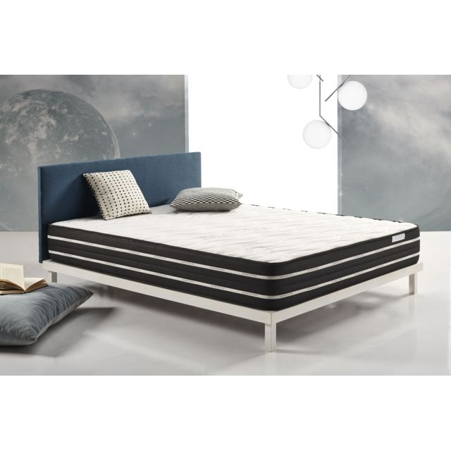 COSMOS Matelas ACTIVATED CARBON 105x190 cm mousse à mémoire VISCO V200® + viscoélastique GRAPHITEX® associé au coutil CARBOTEX®