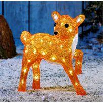 No Name - Superbe décoration de jardin ! - Faon lumineux acrylique coloré finition cristal - 40 Led blanches