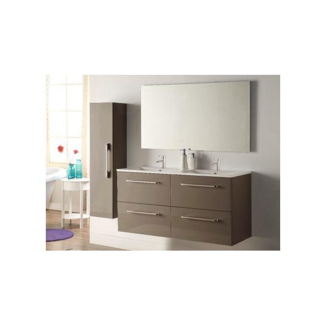 marque generique ensemble ivanka meubles de salle de bain avec double vasque et miroir. Black Bedroom Furniture Sets. Home Design Ideas