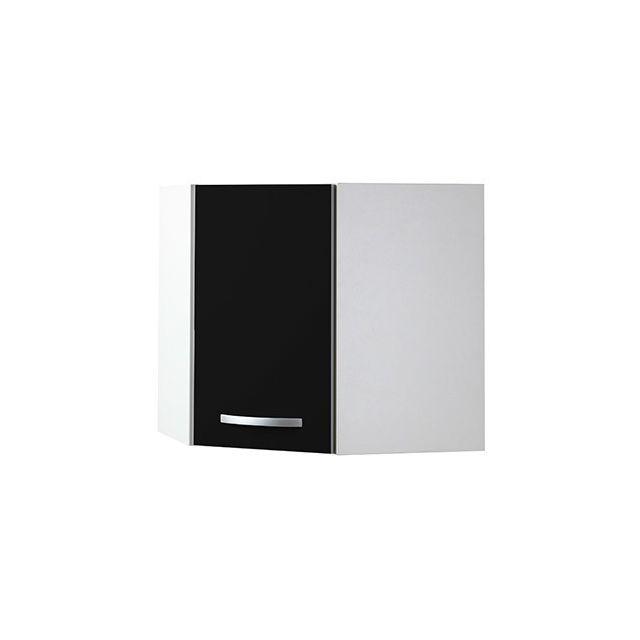 Meuble haut d'angle L60x60xH58xP36cm - noir