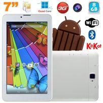 Tablette tactile 3G Quad Core 7 pouces Dual Sim Android 4.4 Blanc 8Go