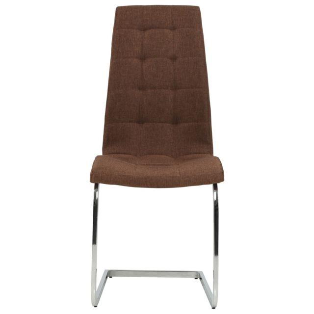 Icaverne Chaises de cuisine et de salle à manger ligne Chaise de salle à manger 2 pcs Tissu 42,5x61x104,5 cm Marron