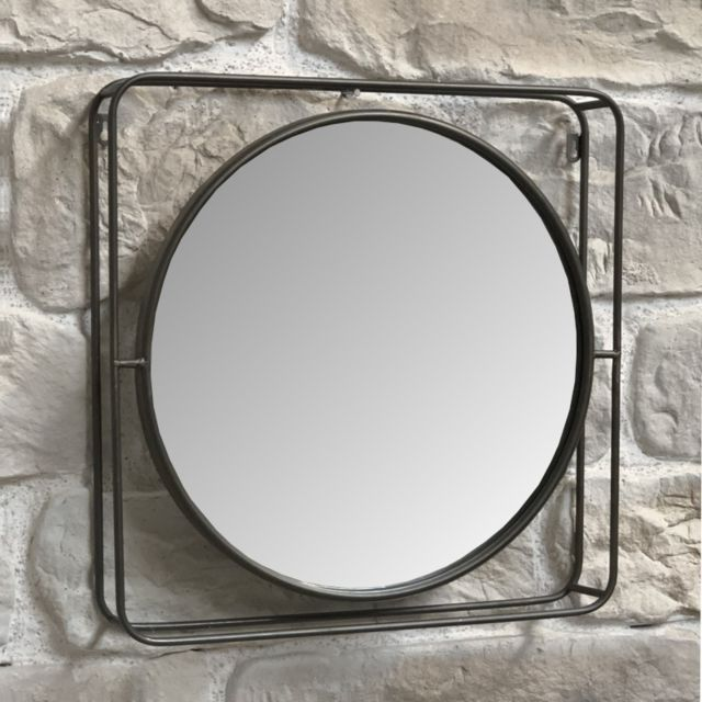 L'ORIGINALE Deco Miroir Industriel en Métal Carré Miroir Rond 51 cm x 51 cm x 8 cm