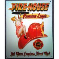 Universel - Plaque casque pompier et pin up fire house tole deco caserne