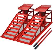 Rocambolesk - Superbe Rampes de réparation des voitures 2 pièces Rouge Acier neuf