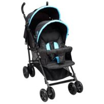 Bambikid By Bambisol - Bambisol Poussette Canne Double Noir et Turquoise