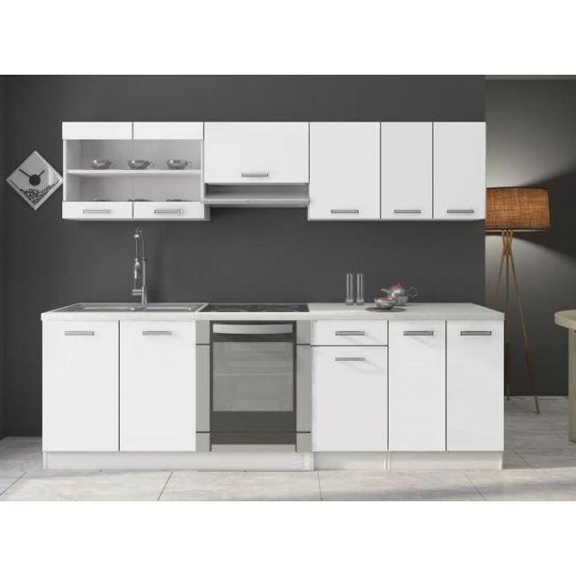 Baltic Meubles - Cuisine Dana blanc laqué - 2m40 - 8 meubles - pas ...