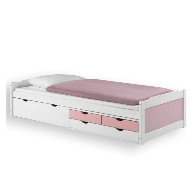 IDIMEX Lit fonctionnel rangements 90x200cm blanc rose