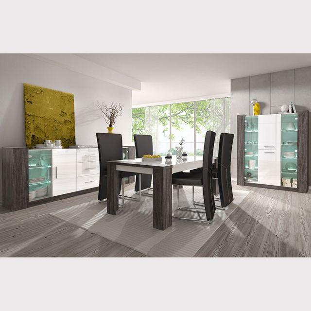 Nouvomeuble Salle à manger complète blanche et couleur chêne gris Lilou