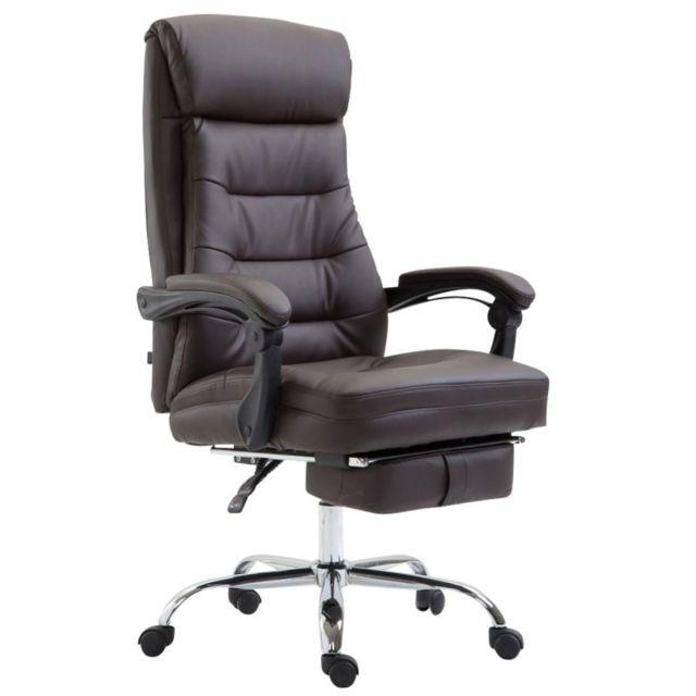 decoshop26 fauteuil de bureau ergonomique en similicuir marron avec repose pied extensible. Black Bedroom Furniture Sets. Home Design Ideas