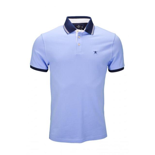 3c916b886c2 Hackett - Polo Mix Woven bleu pour homme - pas cher Achat   Vente Polo homme  - RueDuCommerce
