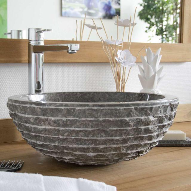 vasque a poser gris Ocean Line - Vasque à poser en marbre gris, Marmo