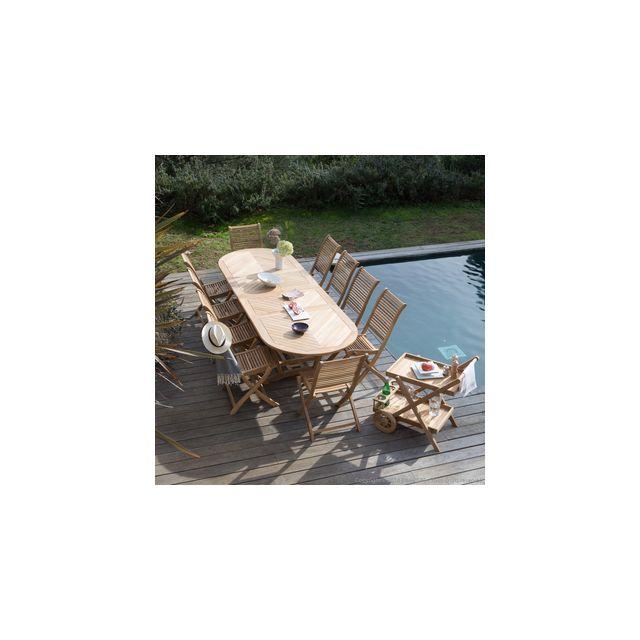 Ermanno G - Salon de jardin 10 places teck brut : table 200/300cm + ...
