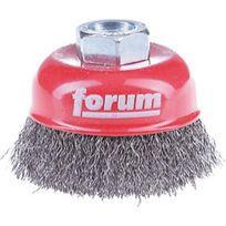 Forum - Brosse à boisseau, fil d'acier trempé, ondulé Ø de la brosse : 80 mm, Epaisseur du fil 0,30 mm, Vitesse maxi. 8500 tr/mn