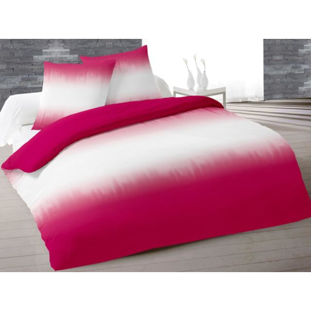soleil d 39 ocre parure housse de couette coton 260x240 cm tie and dyed fuchsia rose 260cm x. Black Bedroom Furniture Sets. Home Design Ideas