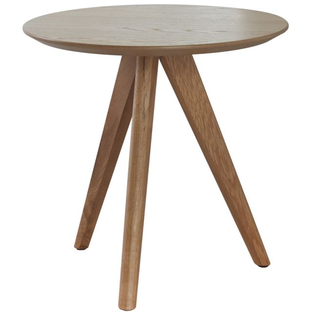 COMFORIUM Table d'appoint ronde design scandinave en bois massif chêne naturel Ø48cm