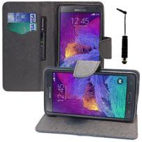 Vcomp - Housse Coque Etui portefeuille Support Video Livre rabat cuir Pu effet tissu pour Samsung Galaxy Note 4 Sm-n910F/ Note 4 Duos Dual Sim, N9100/ Note 4 CDMA, / N910C N910W8 N910V N910A N910T N910M + mini stylet - Noir