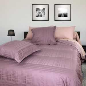 linnea parure de lit 240x220 cm satin de coton pigalle violet 220cm x 240 cm pas cher achat. Black Bedroom Furniture Sets. Home Design Ideas