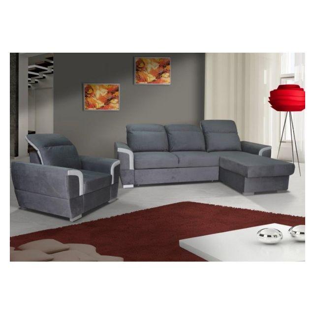 Meublesline Ensemble canapé d'angle + fauteuil Berna gris