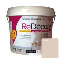 Apara - Enduit de Décoration et Rénovation Rapide, 2 en 1, lisse et décore sur plâtre, peintures, crépis, fibres, 15KgSeigle