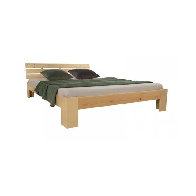 Homestyle4U Lit double en bois futon 140x200 bois naturel