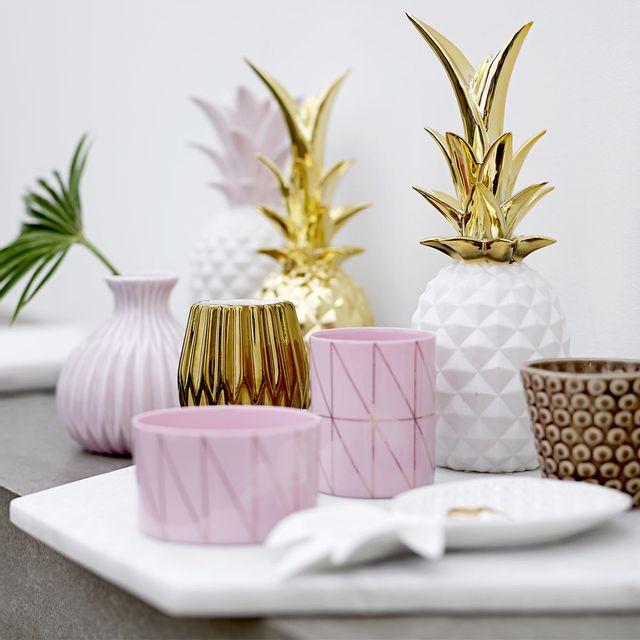 Bloomingville - Ananas en Céramique 24 cm - Blanc/Or