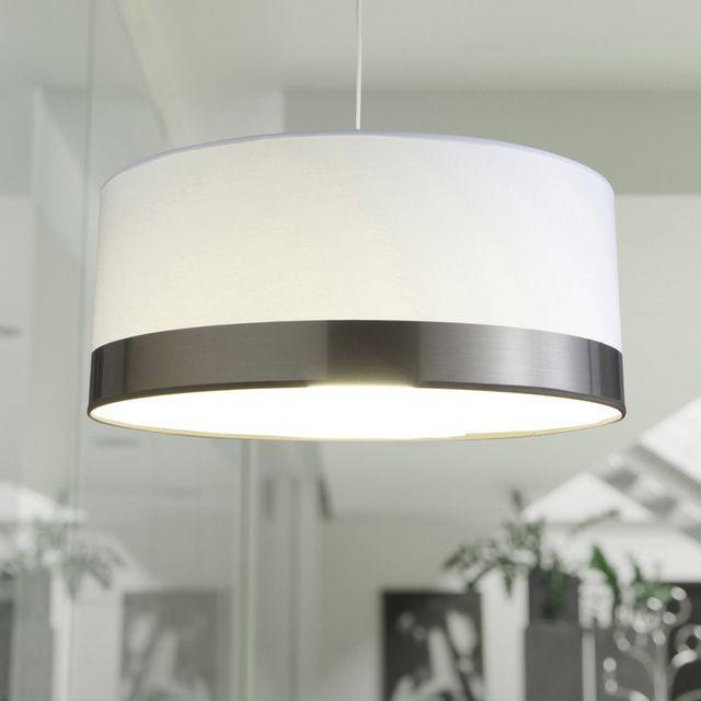 Metropolight - Suspension cylindre en coton et Pvc diamètre 48cm Cyclo - Blanc/gris