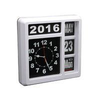 Velleman - Horloge Murale À Chiffres Sautants - Avec Calendrier - 31 X 31 Cm - Anglais