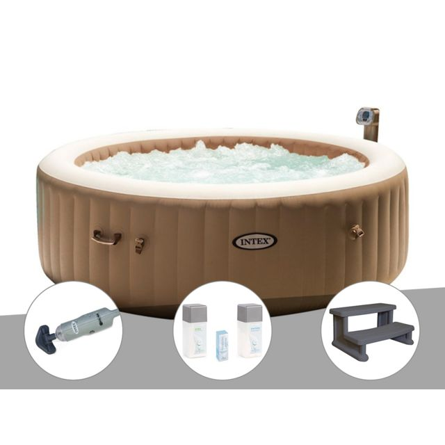 Intex Kit Spa Gonflable Purespa Rond Bulles 6 Places